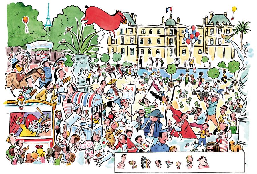 Wir Eltern, Wimmelbild, Paris