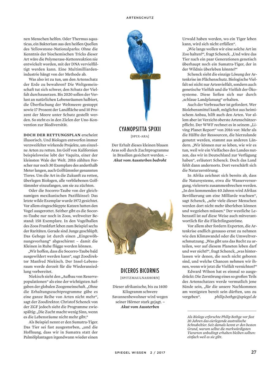 Der Spiegel Wissen, Artenschutz
